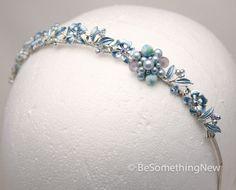Silver and blue vintage jewelery tiara something by BeSomethingNew