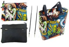 Horror - Hollywood Monsters Purse and pouch/passport bag set | RockinRoses - Bags & Purses on ArtFire #RockinRoses - contact me here or via rockin dot roses at ymail dot com