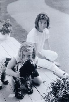 A young Caroline Kennedy, her pup, & mom Jackie. Lovely.