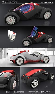Local Motors begins building world's first printed car 'Strati' live at IMTS Futuristic Cars, Futuristic Design, Design Transport, Velo Design, E Mobility, Reverse Trike, Transportation Design, Automotive Design, Electric Cars