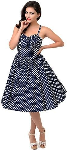 Iconic by UV 1950s Style Navy & White Dot Golightly Bow Long Swing Dress