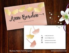 Ginkgo Leaves name card by AIWSOLUTIONS on @creativemarket