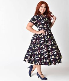 Collectif Plus Size 1950s Navy Woodland Caterina Shirt Swing Dress