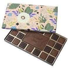 Blush Modern Floral Pattern 45 Piece Box Of Chocolates - pattern sample design template diy cyo customize