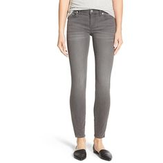 Madewell 'High Riser' Skinny Skinny Jeans ($125) ❤ liked on Polyvore featuring jeans, dusty wash, skinny leg jeans, super ripped skinny jeans, destroyed jeans, gray jeans and destructed skinny jeans