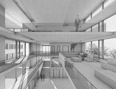 Innenraumperspektive des Erweiterungsbaus der Fakultät Architektur der Hochschule Darmstadt. Die reduzierte Darstellung, homogene Materialität und Wahl der Perspektive unterstützt die stringente Architektur.