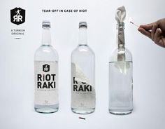 Riot Raki  Tear off label to use as  wick for Molotow Cocktail...
