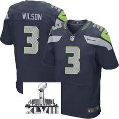 Nike Seattle Seahawks 3 Russell Wilson Blue Game 2014 Super Bowl XLVIII NFL Jerseys