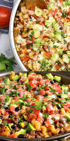 Dinner is quick and delicious, and cleanup is easy with this one-pot One Pot Tex-Mex Pasta! One Pot Tex-Mex Pasta - Dinner is delicious and cleanup is easy with this one-pot meal! One Pot Dinners, Easy One Pot Meals, Easy Healthy Dinners, Dinner Healthy, Healthy Eating, Healthy One Pot Meals, Easy Summer Dinners, Clean Eating, One Skillet Meals