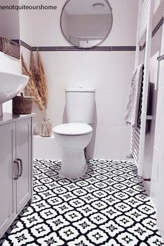 Floorpops Comet Self Adhesive Floor Tiles Small Downstairs Toilet, Small Attic Bathroom, Loft Bathroom, Tiny Bathrooms, Upstairs Bathrooms, Stick On Tiles Bathroom, Bathroom Tile Designs, Best Bathroom Tiles, Vinyl Flooring Bathroom