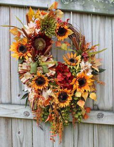 XL Fall Wreath Sunflower Rust Green Wisteria, Cattails, Rich, Large, Autumn, Sienna, Moss, Sage, Olive, Harvest, Thanksgiving