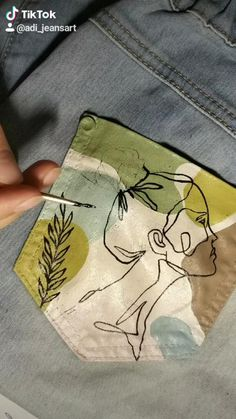 Painted Jeans, Painted Clothes, Hand Painted, Fashion Sewing, Diy Fashion, Hand Embroidery, Embroidery Designs, Sacs Tote Bags, Denim Art
