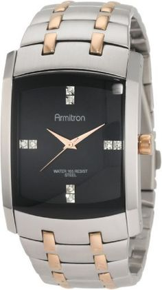 Armitron Men's 20/4507BKRG Swarovski Crystal Dial Rosegold-Tone and Silver-Tone Bracelet Watch Armitron. $63.74. Silver-tone stainless steel rectangular shaped case. Water-resistant to 165 feet (50 M). 8 genuine Swarovski crystal markers on glossy black dial. Adjustable silver-tone bracelet with rosegold-tone accents in links. Rosegold-tone houre, minute and second hands. Save 25% Off!