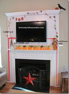 Whether your TV is hung over the fireplace, on a wall or it is sitting on a table or console, how to hide the cords is always the big dilemma. Angie over at Angie in the Thick of itis here to share her idea and solution of hiding her TV cords in the trim work …