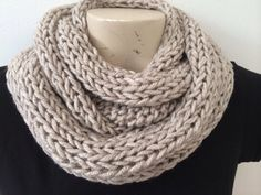 Mens infinity Cowl Neck Warmer Scarf, Beige Cowl Scarf For Mens And Women, Unisex Winter Chunky Cowl Scarf In Beige, Usa Seller