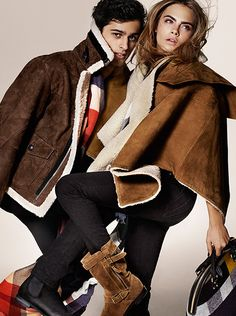 Brit Shearling - aviator jackets and ponchos in the new Burberry Autumn/Winter 2014 campaign
