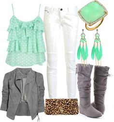 Turquoise tiered polka dot tank + white skinnies + grey jacket + grey boots + turquoise earrings