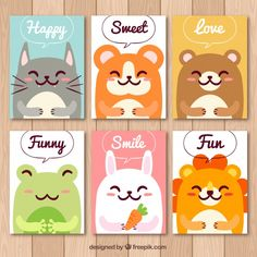 Cute cards with fun animals Free Vector Small Canvas Paintings, Mini Canvas Art, Safari Nursery, Nursery Prints, Strawberry Shortcake Coloring Pages, Wallpaper Stickers, Kids Branding, Cute Illustration, Cute Cards
