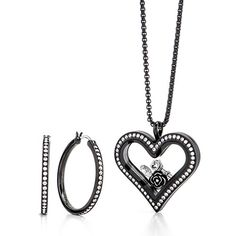 """Love is the key to May's Hostess Exclusive. Featuring an exclusive Large Black Heart Locket with Swarovski® Crystals, Key to My Heart Charm, exclusive Silver Vintage Rose Charm, April Crystal Birthstone by Swarovski®, 24-26"""" Cube Chain in Black, paired with Black 30mm Hoop Earrings with Swarovski® Crystals, this month's exclusive look is a reminder to go and reach for your dreams by doing what you love each + every day!"""