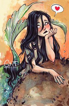The Art Showcase Mermaid Drawings, Mermaid Art, Anime Mermaid, Realistic Mermaid Drawing, Pretty Art, Cute Art, Arte Sketchbook, Art And Illustration, Cartoon Art