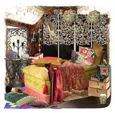 """RECAMARA EN MARRUECOS MUY COLORIDA"" by marlene-11 ❤ liked on Polyvore featuring interior, interiors, interior design, home, home decor, interior decorating, DK Living, Gandía Blasco, Haute House and Arteriors"