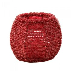 Gallery of Light Cherry Red Beaded Candleholder