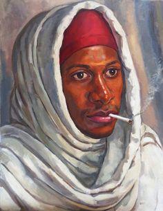 smoking Orientalist portrait by Oscar Estevez Smoking, Portrait, Artist, Painting, Headshot Photography, Artists, Painting Art, Portrait Paintings, Paintings