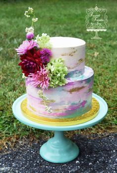 Watercolor Fun  Watercolor Fun IMBC of various colors blended together to get this watercolor effect.  #watercolor #painting #cake-hand-painted #cakecentral
