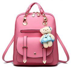 cbcaa351de Womens Backpack Leather Multi-Way Girls School Backpack Cartoon PendantPink   BAGWIZARD Designer School Bags