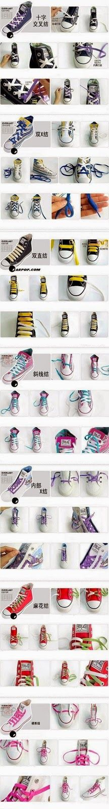 Different ways to tie your shoes or your kids fancy kicks...!
