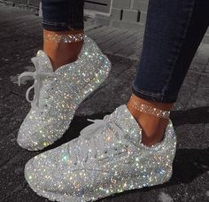 Casual Smart wear for trendy girls Sparkly Shoes, Bling Shoes, Glitter Tennis Shoes, Bling Bling, Dad Sneakers, White Sneakers, Sneakers Fashion, Fashion Shoes, Adidas Fashion