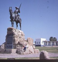 "Windhoek_Reiter_1981.jpg (404×434) The colonial Monument ""Reiterdenkmal"" in Windhoek despicts not only the German Era of Namibia's History but glorifies also the ""German Victims"" of the Resistance Wars of the Indigenes with the resulting Genocid to some Namibian Communities like Ovaherero and Nama: with Katrin Dierks-Lecomte and Annette Dierks, 1981 Copyright of Photo: Dr. Klaus Dierks"