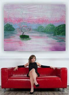 Big wall art Pink and green lake art Cherry blossom by KsaveraART