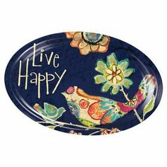 """Hand-painted ceramic platter with an embossed bird and floral motif.  Product: PlatterConstruction Material: CeramicColor: NavyFeatures: Hand-paintedDimensions: .75"""" H x 14"""" W x 10"""" D"""