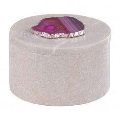 Dimond Antilles Round Box w/ Pink Agate