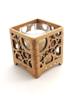 Oak votive candle holder