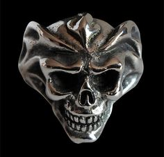 Stainless Steel Del Fuego Fire Skull Biker Ring - Custom Size - Free Shipping #Handmade #Statement