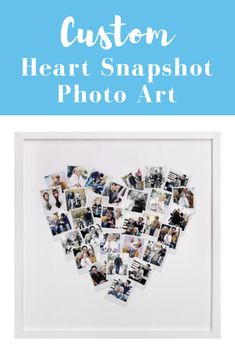 Custom heart snapshot photo art. Create a unique keepsake with our favorite heart snapshot mix photo art print. Customize, personalize, personalize photo art, photograph, pictures, personalize wall art, family gift, grandparent gift, Mother's Day gifts, grandmother, first time mom gift, #affiliate