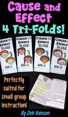 Cause and Effect Tri-folds! Use these printables over the course of 4 days to provide targeted instruction on how to determine causes and effects. These are ideal for small group instruction or intervention groups. Reading Comprehension Activities, Reading Passages, Reading Strategies, Reading Skills, Guided Reading, Math Activities, Cause And Effect Activities, Teaching Geometry, Small Group Reading