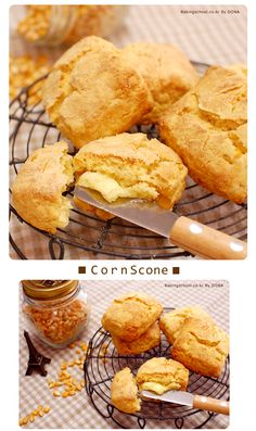 옥수수스콘 - 베이킹스쿨(교훈:배워서남주자) Scones, Biscuits, Muffin, Food And Drink, Bread, Cookies, Breakfast, Desserts, Recipes