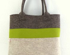 Felt Tote Yellow Charcoal Shopper Shopping Bag by WeltinFelt