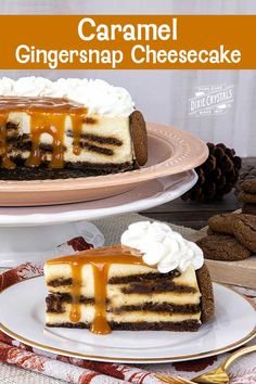 Caramel Gingersnap Cheesecake is full of flavor and studded with our Gingersnaps. Cake Recipes, Dessert Recipes, Desserts, Mnm Cake, Wasc Cake Recipe, Thanksgiving Deserts, Different Kinds Of Cakes, Caramel Cheesecake, Christmas Sugar Cookies
