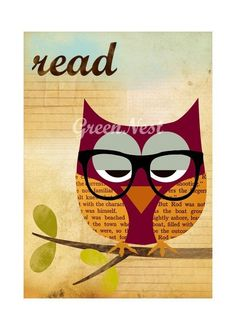 Read  Nerd Owl Collage Poster Print by GreenNest on Etsy, $14.00