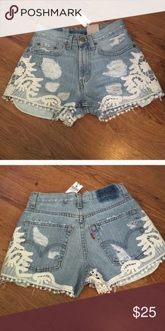 Furst of a Kind Denim shorts from LF with crochet New with Tags Furst of a Kind Denim Jean  shorts embellished with white crochet embroidery from LF (waist measure size 26 inches) LF Shorts Jean Shorts