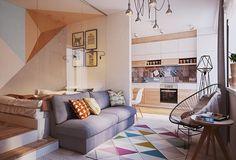 Un piso de 50 metros cuadrados con baldosas hidraúlicas