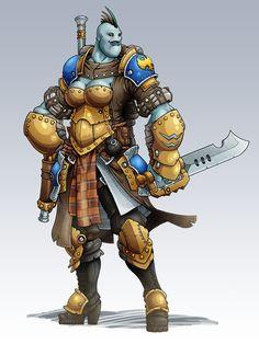 IKRPG Commission - Trollkin Trencher Officer by nfeyma.deviantart.com on @deviantART