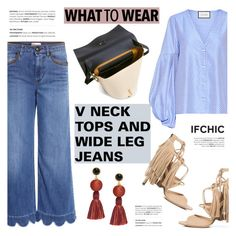 """""""What to wear: V NECK TOPS AND WIDE LEG JEANS"""" by ifchic ❤ liked on Polyvore featuring RED Valentino, Alexis, Marissa Webb, ZAC Zac Posen, Lizzie Fortunato and contemporary"""