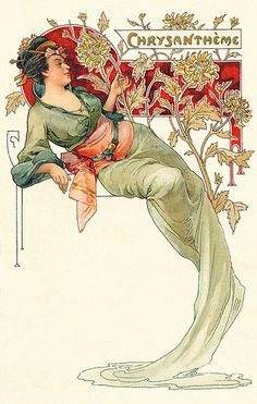 Art nouveau postcard. Japanese- inspired costume