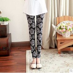 Spring, summer, Thousand birds pants Fashion beautiful leggings printing flowers skinny pants Nine minutes of trousers