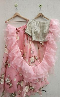 Pink Organza Lehenga with Ruffle Dupatta – - kids lehenga Lehenga Choli Designs, Kids Lehenga Choli, Lehenga For Girls, Floral Lehenga, Sarees, Indian Gowns Dresses, Indian Fashion Dresses, Indian Designer Outfits, Party Kleidung